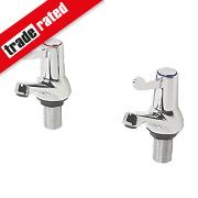 H & C ¼ Turn Bath Taps Pair